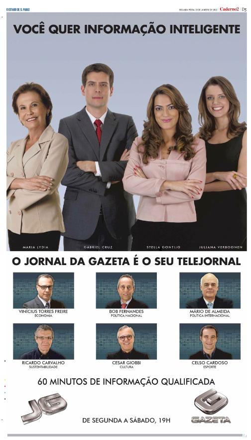 Estadão, Folha SP, Diário de SP e JT - Janeiro - 2012